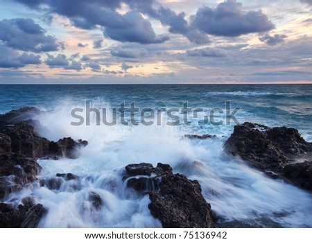 Greater waves amongst stone. Composition of the nature - stock photo