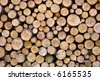 Greater woodpile from dry round fire wood - stock photo