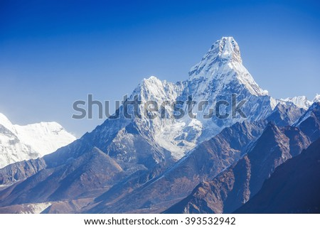 Greatness of nature. Khumbu Valley. Mt. Ama Dablam in the Everest Region of the Himalayas, Nepal  - stock photo
