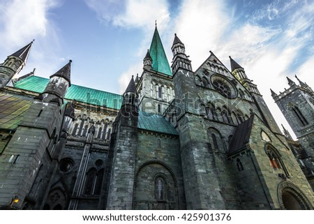 Greatness of Nidaros Cathedral, Norway (Slight cold temperature for darker, cold effect)