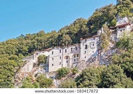 greccio, the shrine of st. francis, holy valley of rieti - stock photo