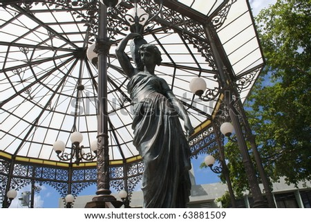 Grecian Goddess Gazebo in Aguada Puerto Rico Plaza - stock photo