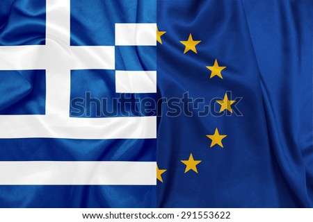 Greece and E.U flags on silk texture