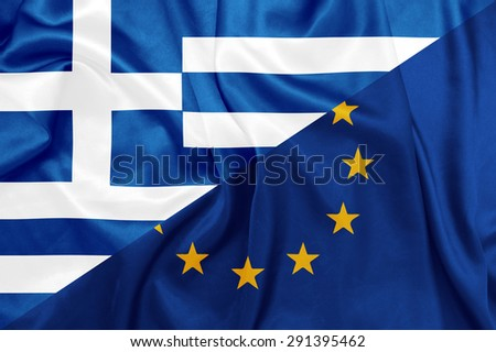 Greece and European union flag - National Greek and Official E.U flag on silk texture
