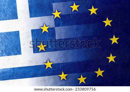 Greece and European Union Flag painted on leather texture - stock photo