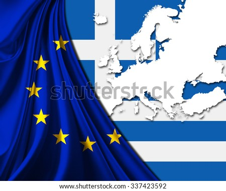Greece and European Union Flag with Europe map background