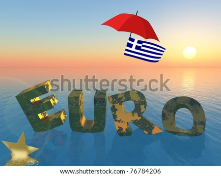 Greece and the Euro: symbol for the current crisis which affects the European Union and the financial markets worldwide. - stock photo