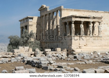 Greece, Athens. Acropolis. Temple Erechtheum (kind from the southwest party). - stock photo