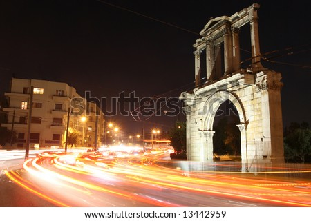 Greece, Athens. Arch of Hadrian at night.