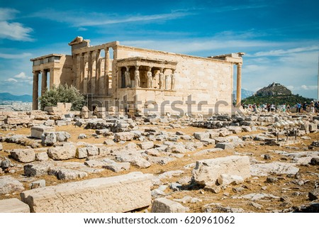 Greece, Athens, August 2016, The Acropolis of Athens, ancient citadel located on an extremely rocky outcrop above the city of Athens. Parthenon