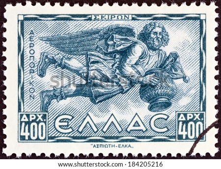 "GREECE - CIRCA 1943: A stamp printed in Greece from the ""Airmail - Greek Mythology. Winds "" issue shows Skiron (North-west wind), circa 1943."