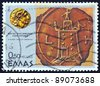 """GREECE - CIRCA 1977: A stamp printed in Greece from the ''Alexander the Great"""" issue shows """"Alexandria lighthouse"""", circa 1977. - stock photo"""