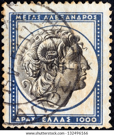 "GREECE - CIRCA 1954: A stamp printed in Greece from the ''Ancient Greek Art"" issue shows Alexander the Great, circa 1954. - stock photo"