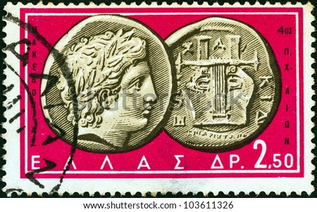 "GREECE - CIRCA 1963: A stamp printed in Greece from the ""Ancient Greek Coins"" issue shows a coin from Chalcidice, Macedonia 4th century B.C. (Apollo and lyre), circa 1963. - stock photo"