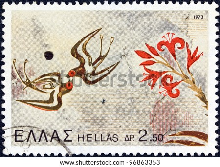 "GREECE - CIRCA 1973: A stamp printed in Greece from the ""Archaeological Discoveries, Island of Thera"" issue shows Swallows and flowers, circa 1973. - stock photo"