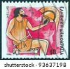"GREECE - CIRCA 1986: A stamp printed in Greece from the ""Gods of Olympus"" issue shows god Hephaestus, circa 1986. - stock photo"