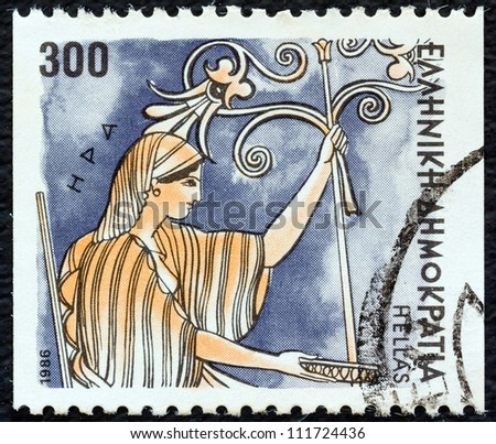 "GREECE - CIRCA 1986: A stamp printed in Greece from the ""Gods of Olympus"" issue shows goddess Hera, circa 1986. - stock photo"