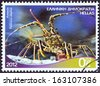 "GREECE - CIRCA 2012: A stamp printed in Greece from the ""Riches of the Greek Seas"" issue shows a Spiny Lobster (Palinurus elephas), circa 2012.  - stock photo"
