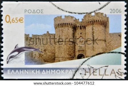 GREECE - CIRCA 2006: A stamp printed in Greece, shows the island Rhodes, circa 2006 - stock photo