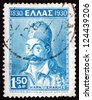 GREECE - CIRCA 1930: a stamp printed in the Greece shows Georgios Karaiskakis, Greek Military Commander and Hero of the Greek War of Independence, circa 1930 - stock photo