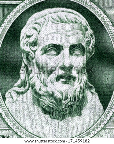 GREECE - CIRCA 1939: Hesiod (750-650 BC) on 50 Drachmai 1939 Banknote from Greece. Ancient Greek oral poet. - stock photo