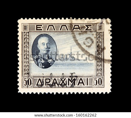GREECE, CIRCA 1910 - The post stamp with portrait of admiral Paulos Kountouriotis circa 1910 in Greece