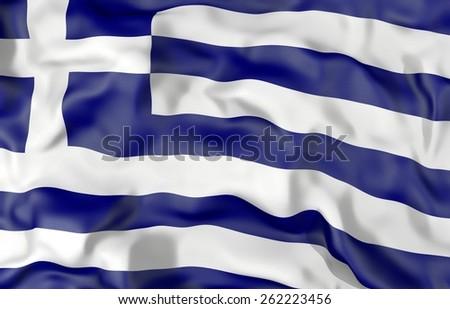 Greece corrugated flag 3d illustration - stock photo