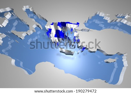 Greece Country Map on Continent 3D Illustration - stock photo