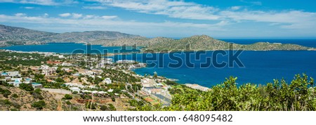 Greece Crete, turquoise bay panorama