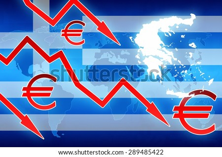 Greece crisis red arrows and euro currency symbol news background illustration - stock photo