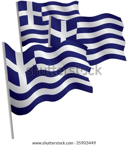Greece 3d flag. Raster illustration. Isolated on white.