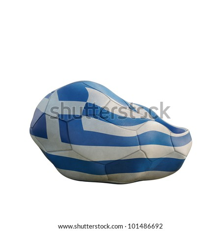 greece deflated soccer ball isolated on white - stock photo