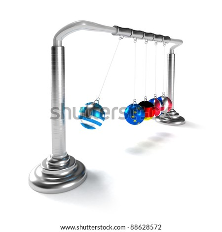Greece economy is breaking the economies of developed countries of European Union (concept) - stock photo