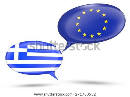 Greece - European Union relations concept with speech bubbles - stock photo