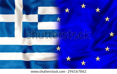 Greece flag and Europe flag. Financial concept for  bond and union