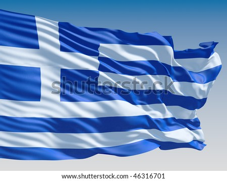 Greece flag flying on clear sky background. - stock photo