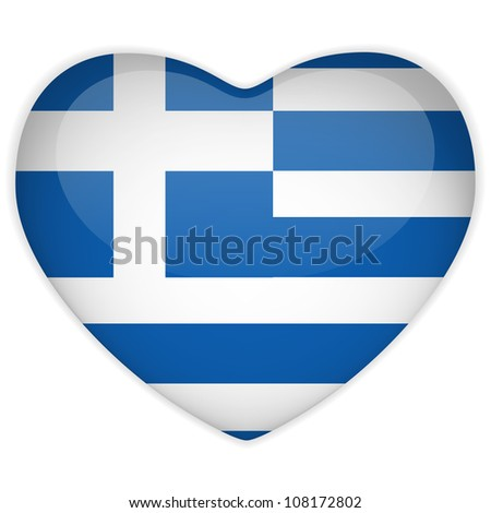 Greece Flag Heart Glossy Button - stock photo