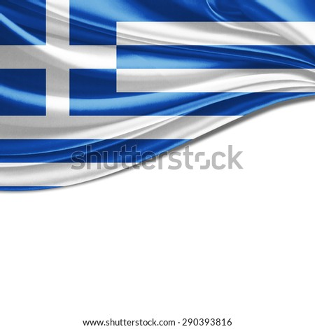 Greece flag of silk and white background - stock photo