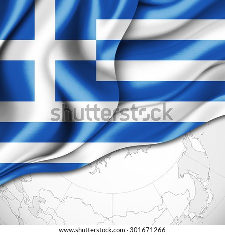 Greece flag of silk and world map background