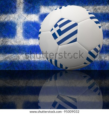 Greece flag on 3d football for Euro 2012 Group A