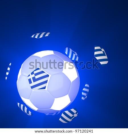 Greece flag on 3d football for Euro 2012 Group A - stock photo
