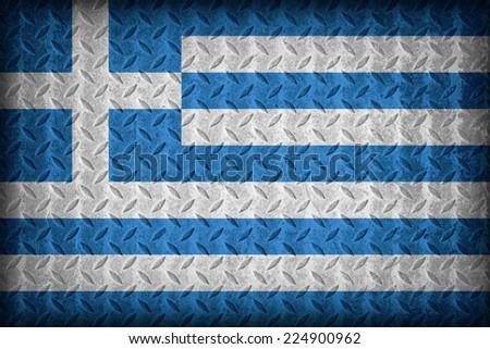 Greece flag pattern on the diamond metal plate texture ,vintage style - stock photo