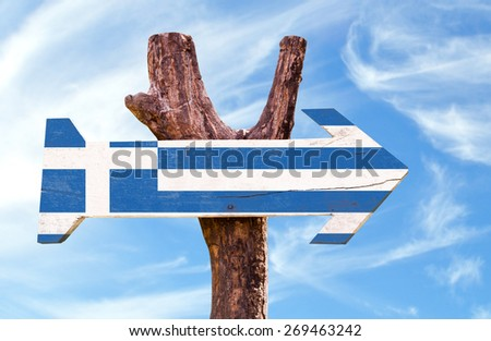 Greece Flag wooden sign with sky background - stock photo