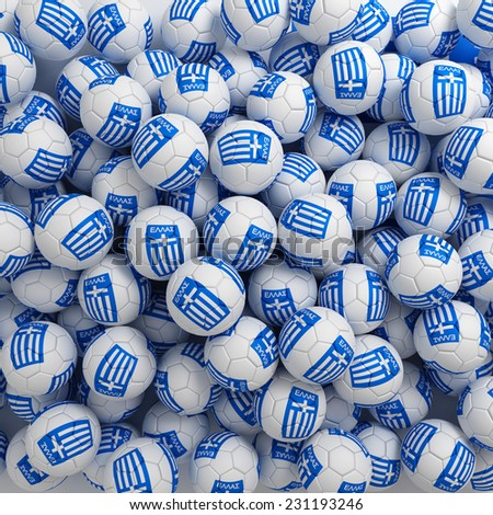Greece football balls (many). 3D render background