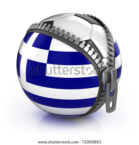 Greece football nation - football in the unzipped bag with Greek flag print - stock photo