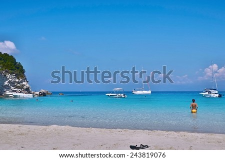 Greece,island Antipaxos-view of the Vrika beach