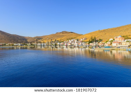 Greece Kea Island in Cyclades panoramic seascape view of sea at summer with blue sky - stock photo