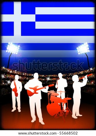 Greece Live Music Band on Stadium Concert Background with Flag Original Illustration - stock photo