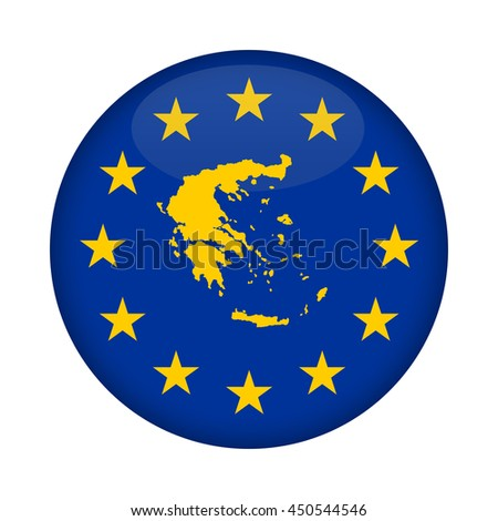 Greece map on a European Union flag button isolated on a white background. - stock photo