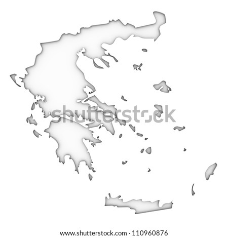 Greece map on a white background. Part of a series. - stock photo